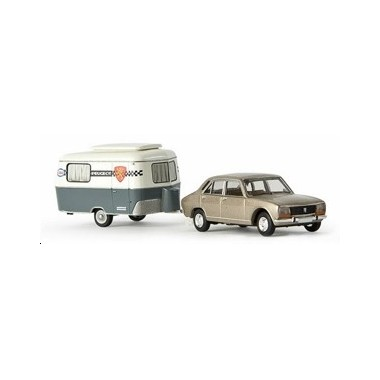 miniature peugeot 504 beige metallise avec caravane eriba peugeot francis miniatures. Black Bedroom Furniture Sets. Home Design Ideas