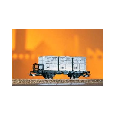 Wagon plat + 3 containers DR Epoque 3