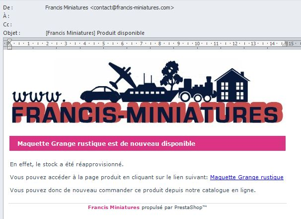 notification messagerie alerte article francis miniatures